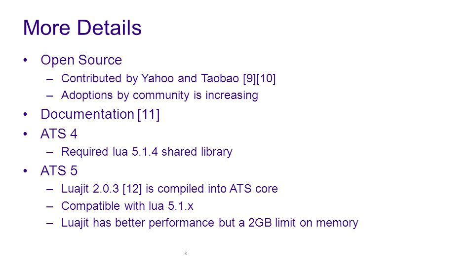 More Details Open Source Documentation [11] ATS 4 ATS 5